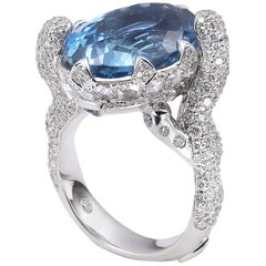 18 Karat White Gold Aquamarine and Diamond Cocktail Ring
