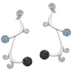 White Diamond Dangle Earrings