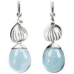 18 Karat White Gold Aquamarine Contemporary Earrings with Diamonds