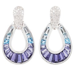 18 Karat White Gold Aquamarine Iolite Blue Topaz Baguette Diamond Earrings