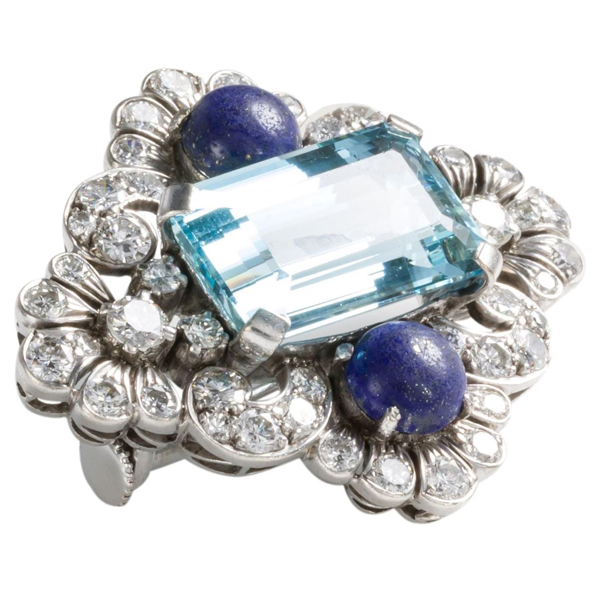 18 Karat White Gold, Aquamarine, Lapis and Diamond Brooch Pin