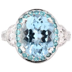 18 Karat White Gold Aquamarine, Paraiba Tourmaline, and Diamond Ring