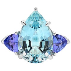 Paolo Costagli 18 Karat White Gold Aquamarine, Tanzanite and Diamond Ring