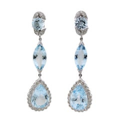 18 Karat White Gold Aquamarine Teardrop Earrings