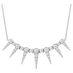 18 Karat White Gold Art Deco Dagger Spike Diamond Layering Necklace