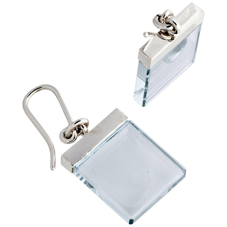 18 Karat White Gold Art Deco Earrings by Artist with Blue Quartz, Feat. in Vogue For Sale
