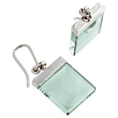 18 Karat White Gold Earrings with Green Amethysts, Featured in Vogue