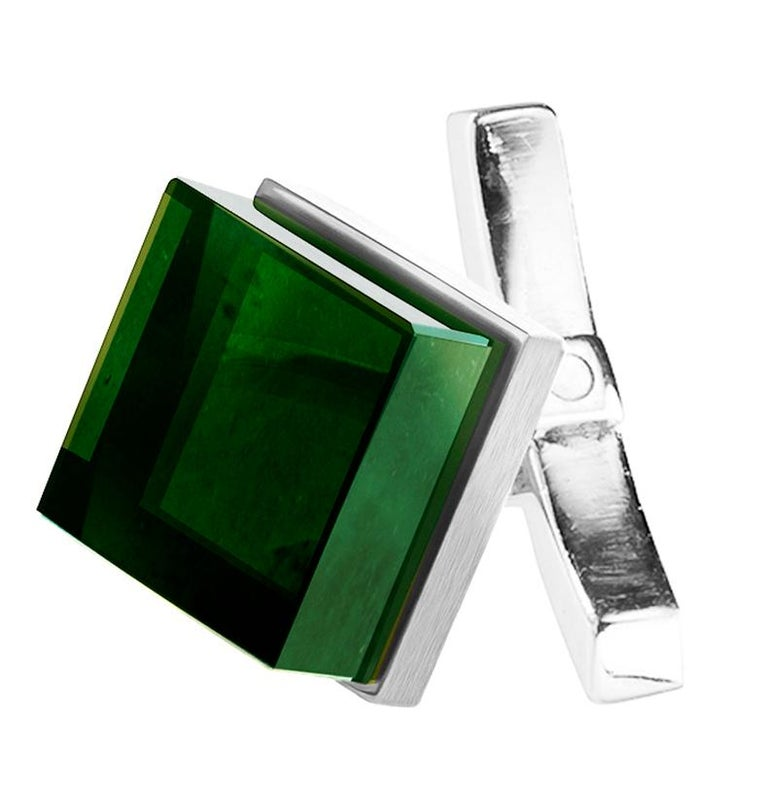 Men's 18 Karat White Gold Art Deco Ink Cufflinks by the Artist with Emeralds For Sale