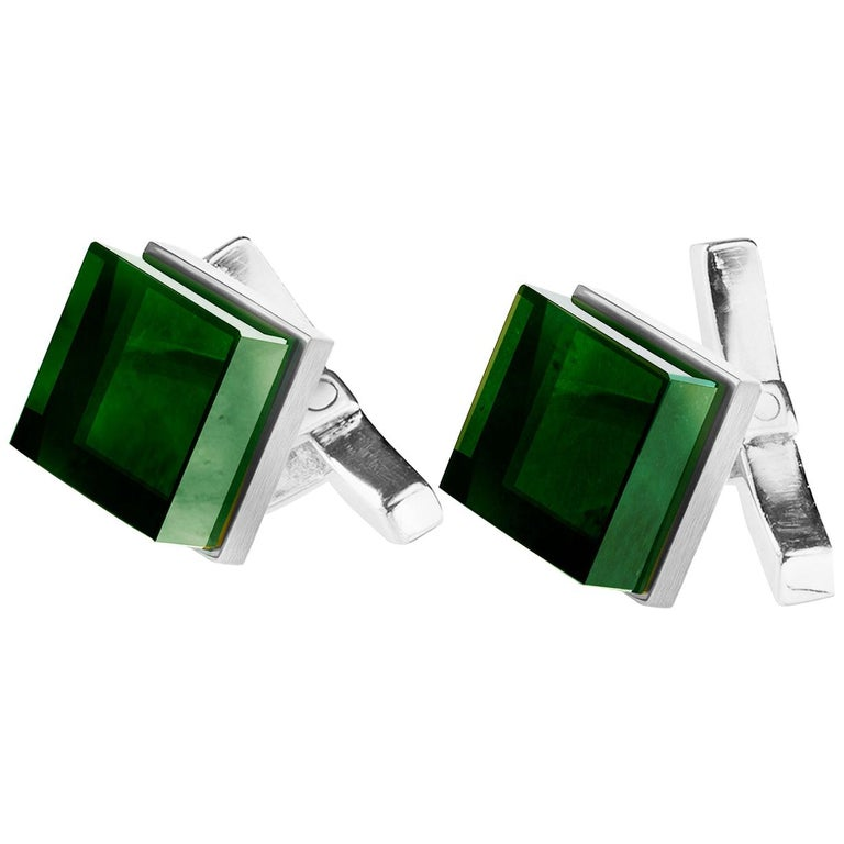 18 Karat White Gold Art Deco Ink Cufflinks by the Artist with Emeralds For Sale