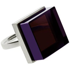 18 Karat White Gold Art Deco Style Ring with Vivid Amethyst, Featured in Vogue
