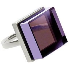 18 Karat White Gold Art Deco Style Men's Ring with Amethyst, Featured in Vogue