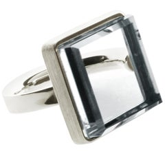 18 Karat White Gold Art Deco Ring with Rock Crystal by Artist Featured in Vogue