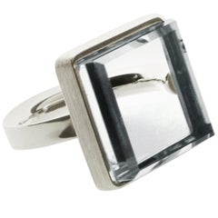 18 Karat White Gold Art Deco Style Ring Rock Crystal by Artist Featured in Vogue