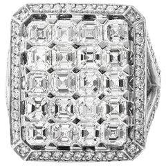 18 Karat White Gold Asscher Cut Diamond Cocktail Ring