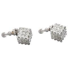 18 Karat White Gold Asscher Cut Diamond Cufflinks