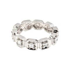 18 Karat White Gold Asscher Cut Diamond Eternity Band