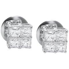 18 Karat White Gold Asscher Cut Diamond Stud Earrings