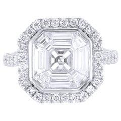 18 Karat White Gold Asscher Illusion Diamond Engagement Ring