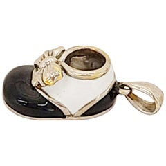 18 Karat White Gold Baby Shoe Charm with Black and White Enamel
