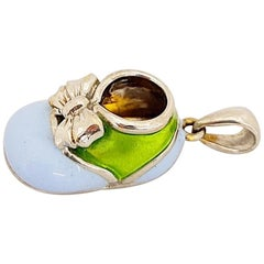 18 Karat White Gold Baby Shoe Charm with Light Blue and Green Enamel