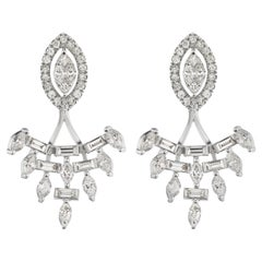 18 Karat White Gold Baguette and Marquise Diamond Jacket Earring