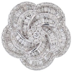 18 Karat White Gold Baguette and Round Diamond Flower Ring