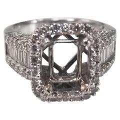 18 Karat White Gold Baguette and Round Diamond Halo Ring