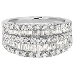18 Karat White Gold Baguette and Round Diamond Ring
