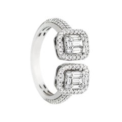 18 Karat White Gold 128 White Diamonds Together 0.88 Carat Baguette Cut Ring