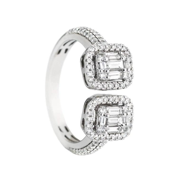 18 Karat White Gold 128 White Diamonds Together 0.88 Carat Baguette Cut Ring