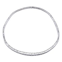 18 Karat White Gold Baguette Diamond Inline Necklace