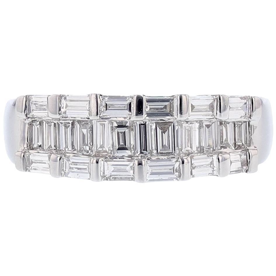 18 Karat White Gold Baguette Diamond Ring