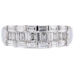18 Karat White Gold Baguette Diamond Ring