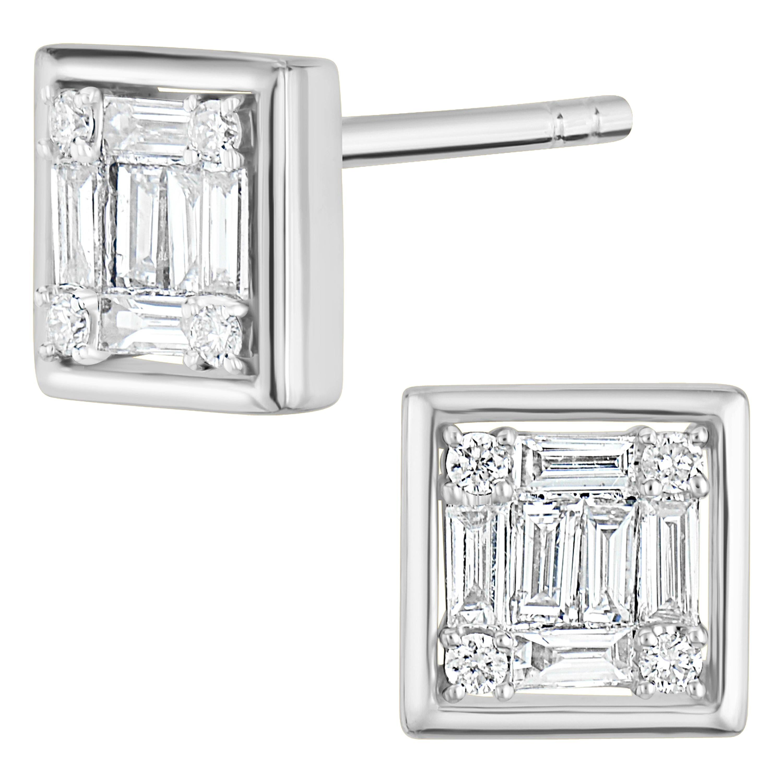18 Karat White Gold Baguette Diamond Square Stud Earring