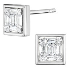 18 Karat White Gold Baguette Diamond Square Stud Earring