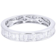 18 Karat White Gold Baguette Diamond Wedding Band