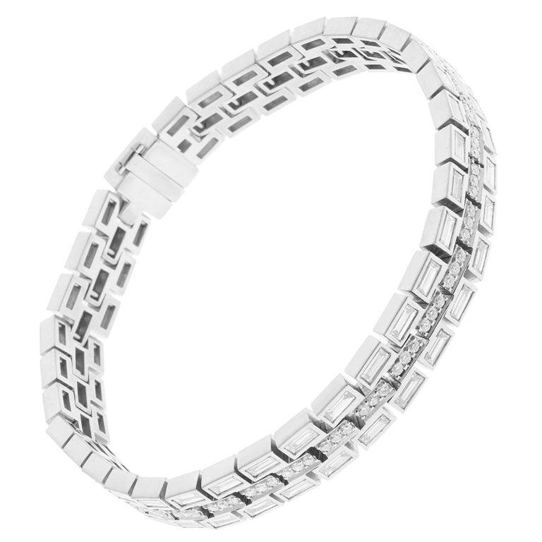 18 Karat White Gold Baguette Dream Bracelet For Sale
