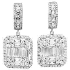 18 Karat White Gold Baguette Round Cut Diamond Drop Dangle Earrings