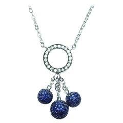 18 Karat White Gold Ball Sapphire Drop Necklace