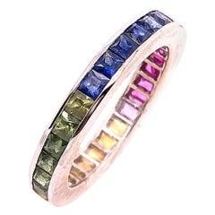 18 Karat White Gold Band / Ring with Multicolored Semi Precious Stones