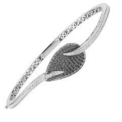 18 Karat White Gold Bangle with White and Black Diamonds