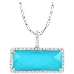 18 Karat White Gold Bar Rectangle Necklace w/ White Topaz, Turquoise & Diamonds
