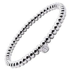 18 Karat White Gold Beaded Bracelet
