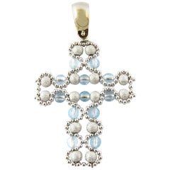 18 Karat White Gold Beaded Cross Pendant