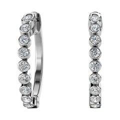18 Karat White Gold Bezel Hoop Diamond Earrings '1/2 Carat'