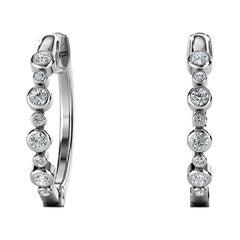 18 Karat White Gold Bezel Hoop Diamond Earrings '1/3 Carat'
