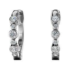18 Karat White Gold Bezel Hoop Diamond Earrings '1/4 Carat'
