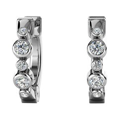 18 Karat White Gold Bezel Hoop Diamond Earrings '1/6 Carat'