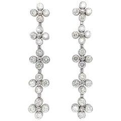 18 Karat White Gold Bezel Set Diamond Drop Earrings