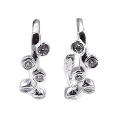 18 Karat White Gold Bezel Set Diamond Huggie Earrings
